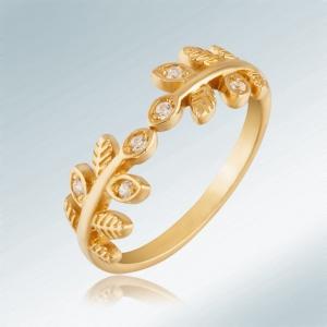 ювелирные украшения из серебра с позолотой  - кольцо