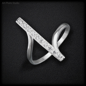 предметное фото ювелирных украшений - кольцо из серебра