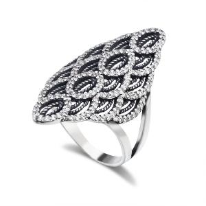 серебряное кольцо с мелкими фианитами