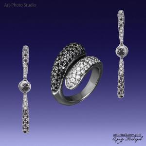 фотосъемка ювелирных украшений из черного золота в Харькове - серьги и кольцо