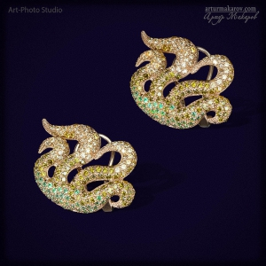 """золотые серьги (серёжки) """"водоросли"""" с драгоценными камнями"""