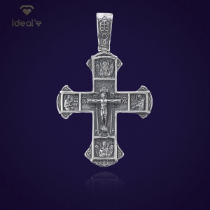 кулон в виде христианского креста - ювелирные украшения из серебра