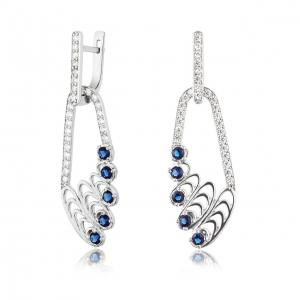 ювелирные украшения из серебра, покрытые родием - серьги-висюльки