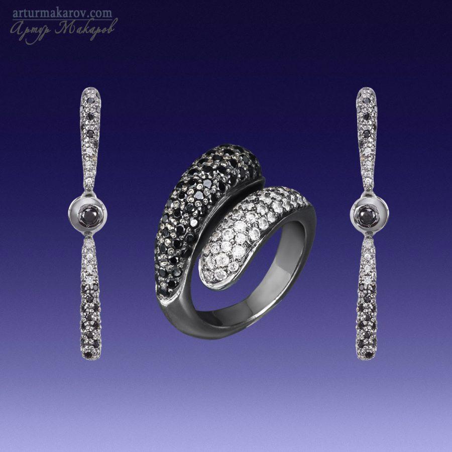 ювелирные украшения из черного золота - кольцо и серьги