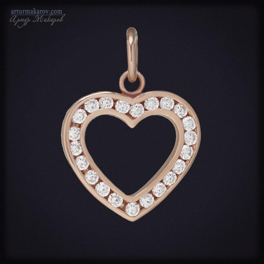 ювелирные украшения из розового золота - кулон с фианитами